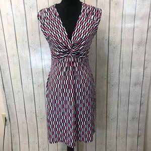 LAUNDRY by SHELLI SEGAL pattern twist front dress